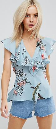 Floral Print Ruffle Front Blouse With Tie Waist
