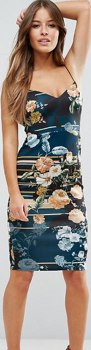 Floral Stripe Midi Pencil Dress