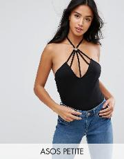halter top with caging ring detail