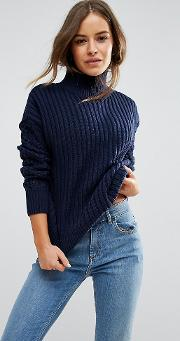 High Neck Jumper With Cable Sleeves