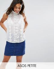 high neck sleeveless blouse with lace trims