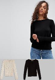 Jumper With Crew Neck And Panel Detail 2 Pack