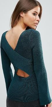 Jumper With Extreme Cross Back In Rib