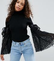 Jumper With High Neck And Lace Flare Sleeves