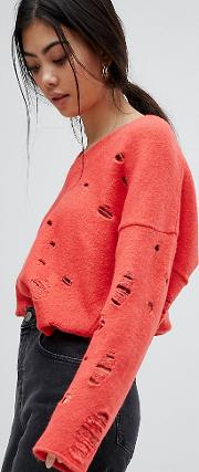 jumper with v neck and rolled edges