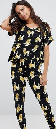 Lion Print Tee And Pyjama Legging Set