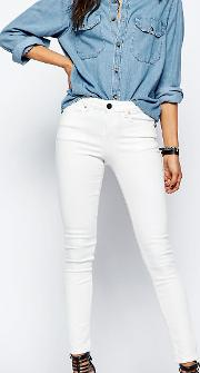 Lisbon Skinny Mid Rise Jeans  Valencia Off White