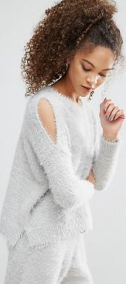 Lounge Jumper With Cold Shoulder In Fluffy Yarn  Ord