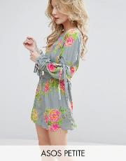 occasion floral playsuit with strap tie sleeves