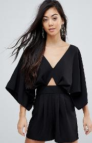 playsuit with kimono sleeve and cut out