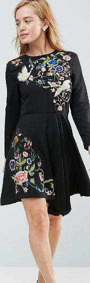 Pretty Embroidered Skater Dress