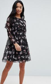 Printed Mesh Skater Dress With Bustier