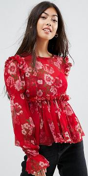 Ruffle Smock Blouse In Red Floral