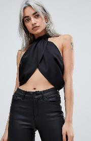 Sexy Drape Crop Top With High Neck