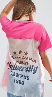 Shirt With Cut About Varsity Print