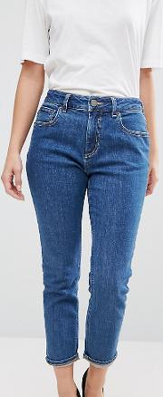 Slim Mom Jeans In Harley Flat Blue Wash