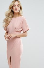 Smart Woven Dress With  Back And Split Front