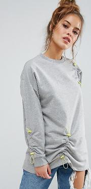 Sweat With Toggle Ruched Detail
