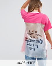 t shirt with cut about varsity print