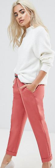 The Slim Tailored Cigarette Trousers With Belt Terracotta
