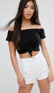Top In Rib With Knot Front