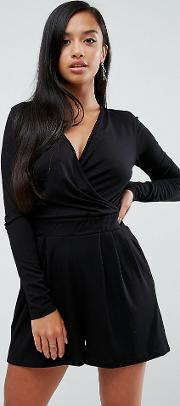 wrap front playsuit with long sleeves