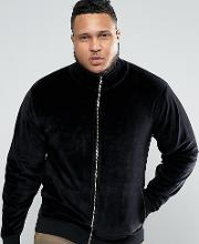 Plus Jersey Track Jacket In Velour