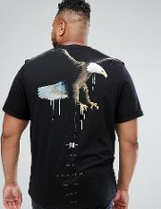 Plus Longline T Shirt With Eagle Print