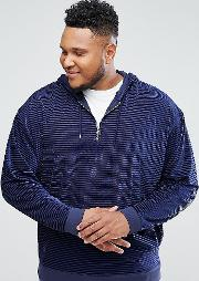 plus oversized hoodie in striped velour with half zip