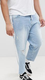 plus skater jeans in light wash with abrasions and side stripe