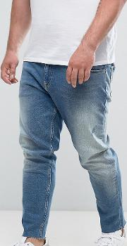 Plus Slim Jeans In Vintage Mid Wash With Abrasions