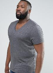 plus t shirt with v neck in charcoal