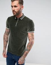Polo Shirt In Cord With Zip Neck And Tipping