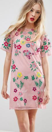Premium Mesh T Shirt Dress With Floral Embroidery