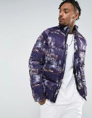 puffer in all over print  purple
