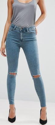 ridley skinny jeans  lela wash with busted knees and raw hem