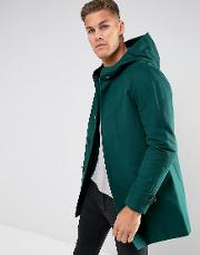 Shower Resistant Trench Coat With Hood In Bottle Green