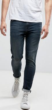 Skinny Ankle Grazer Jeans With Dirty Blue Wash