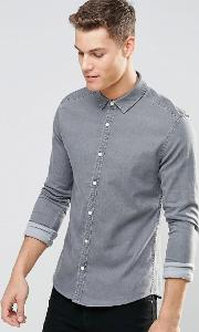 skinny denim shirt  light grey