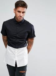 Skinny Fit Cut And Sew Shirt With Black Panel