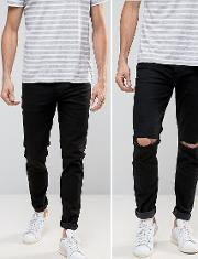 skinny jeans 2 pack  black &  with knee rips save