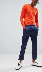 Skinny Smart Trousers  Navy Sateen With Piping