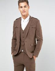 skinny suit jacket  brown with military styling