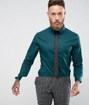 Skinny Teal Shirt With Black Tie Save