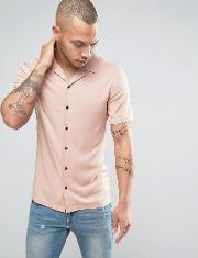skinny viscose shirt with revere collar  pink