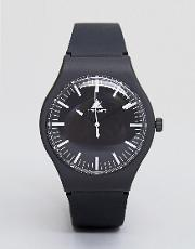 Sleek Watch In Monochrome With Silicone Strap