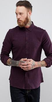 slim brushed twill in burgundy