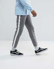 slim cropped trousers in grey nepp with side stripe