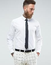 slim shirt in white with black tie and  pin save