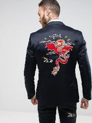 slim tuxedo jacket in navy satin with dragon embroidery